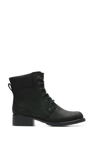 Clarks Black Leather Orinoco Spice Boots