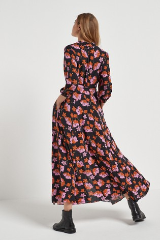 Black Floral Belted Maxi Shirt Dress