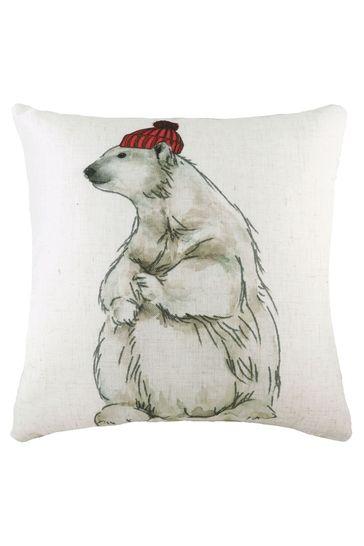 Hand Painted Polar Bear Linen Blend Cushion by Evans Lichfield