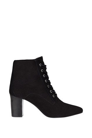 Monsoon Black Lace Up Suede Ankle Boots
