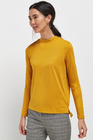 Ochre High Neck Long Sleeve Top