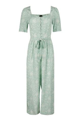 Oliver Bonas Green Isabel Floral Print Jumpsuit