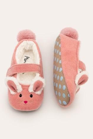 Boden Pink Felt Mary Jane Slippers