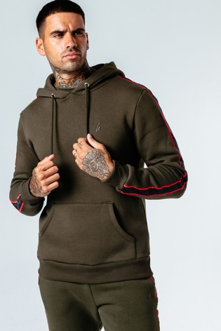 Hype. Mens Khaki Sports Tape Pullover Hoodie