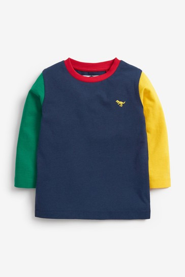 Navy/Green/Yellow Long Sleeve Colourblock T-Shirt (3mths-7yrs)