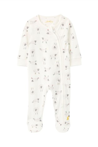 Joules White The Zip Babygrow Organically Grown Cotton Sleepsuit