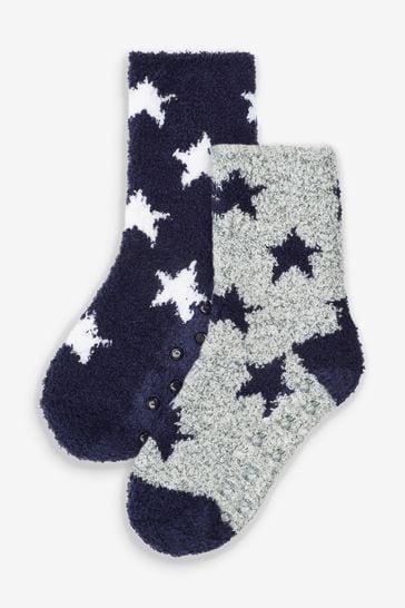 Blue/Grey 2 Pack Cosy Socks