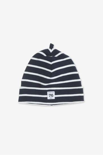 Polarn O. Pyret Blue Organic Cotton Striped Hat