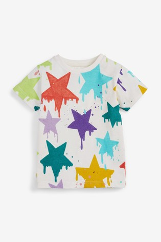 White Drippy Star All Over Printed T-Shirt (3mths-7yrs)