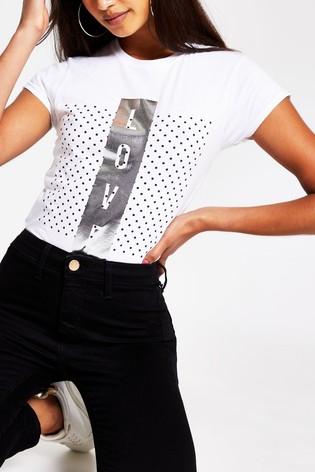 River Island White Love Polka Dot T-Shirt