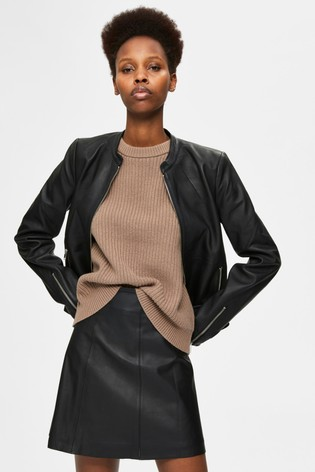 Selected Femme Black Collarless Ibi Formal Leather Jacket