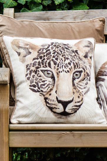 Watercolour Safari Leopard Cushion by Evans Lichfield