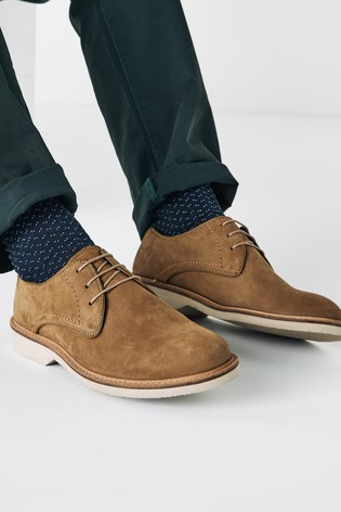 Stone Nubuck Leather Derby Shoes