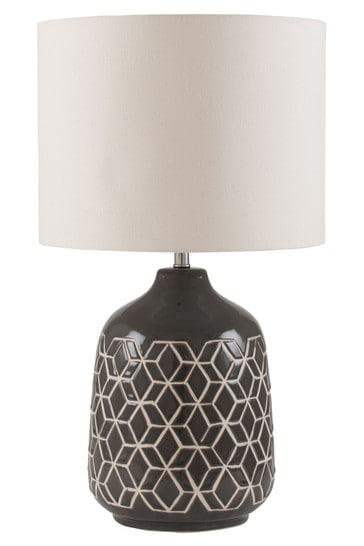 Athena Dark Grey Geo Ceramic Table Lamp by Pacific