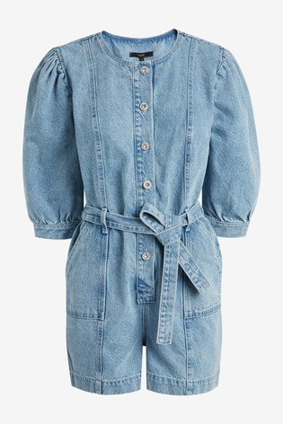 Bleach Puff Sleeve Denim Boilersuit