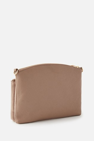 Accessorize Nude Darcey Leather Double Zip Cross-Body Bag