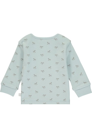 The Little Tailor Blue All Over Print Rocking Horse Jersey Top