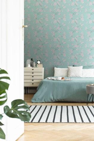 Art For The Home Blue Fresco Apple Blossom Wallpaper