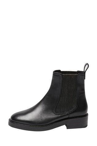 Oliver Bonas Metallic Sparkle Black Ankle Boots