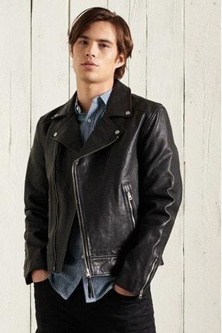 Superdry Leather Moto Biker Jacket