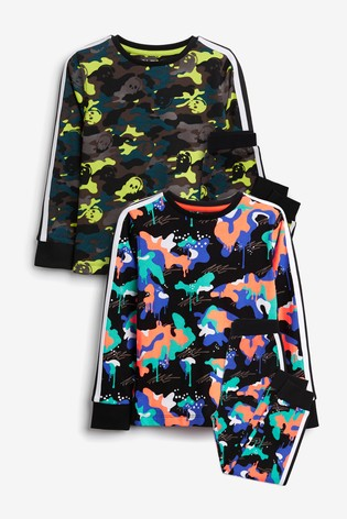 Bright Camo 2 Pack Pyjamas (3-16yrs)
