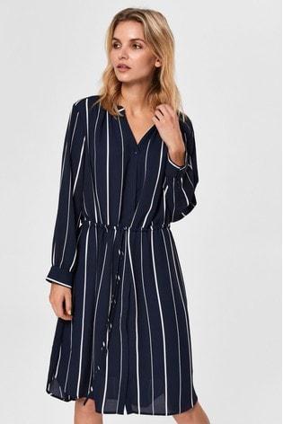 Selected Femme Navy Stripe Damina Shirt Dress