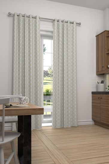 Country Geo Grey Natural Made To Measure Curtains