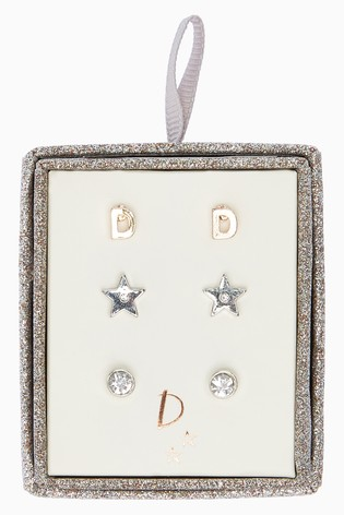 Silver Tone Initial Star Stud Earrings Three Pack