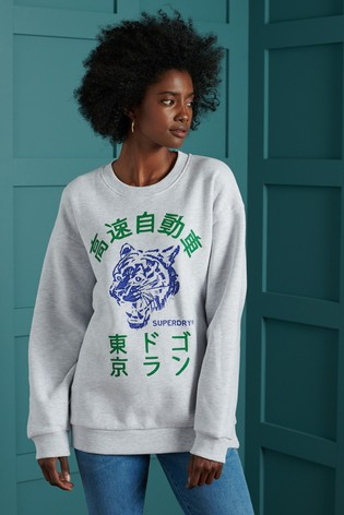 Superdry Kanji Tiger Oversized Crew Sweatshirt