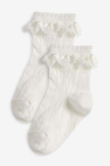 White 2 Pack Lace Ruffle Socks