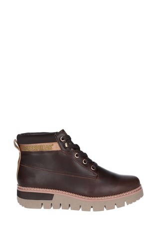 CAT® Lifestyle Brown Pastime Wedge Lace-Up Boots
