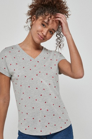 Grey Marl Embroidered Heart V-Neck T-Shirt