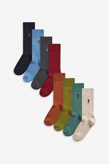 Rich 8 Pack Embroidered Stag Socks