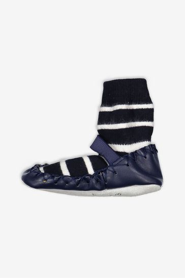 Polarn O. Pyret Blue Striped Moccasins