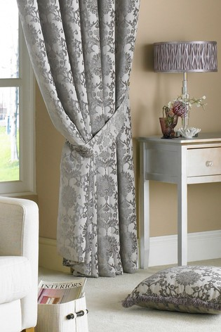 Hanover Damask Pencil Pleat Curtains by Riva Home