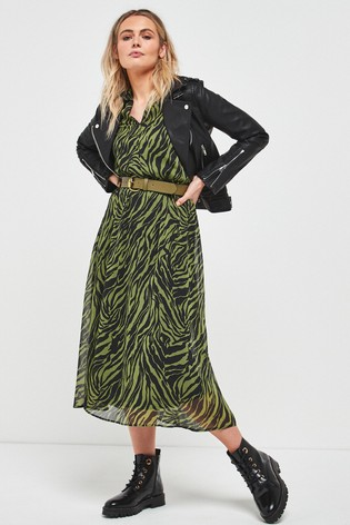 Animal Belted Collar Dress