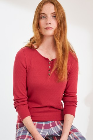 White Stuff Red Harriet Henley Top