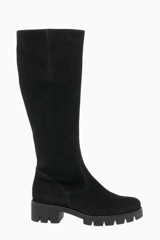 Gabor Bram Black Leather Knee Length Fashion Boots