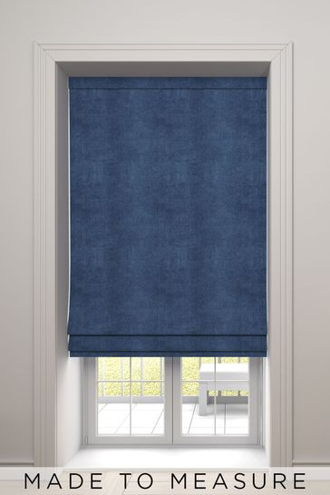 Soft Velour Navy Blue Made To Measure Roman Blind