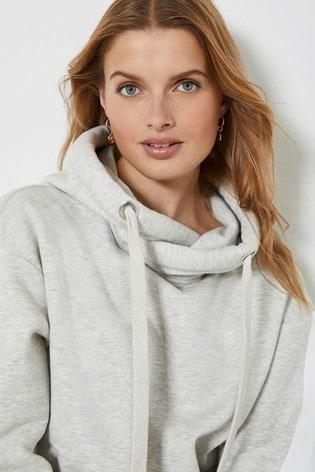 Mint Velvet Grey Contrast Stripe Hoodie