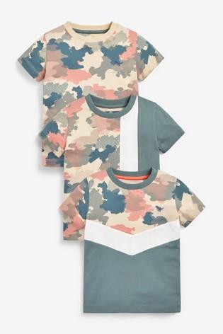 Camo Colourblock 3 Pack All Over Print T-Shirts (3mths-7yrs)