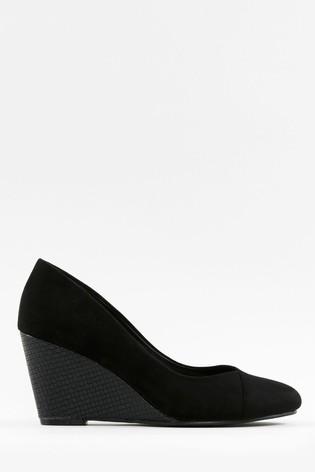 Wallis Companion Black Wedge Court Shoes