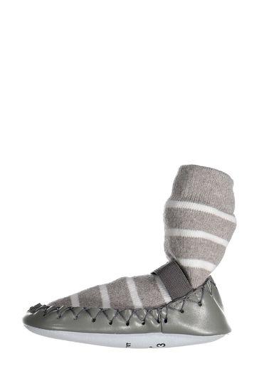 Polarn O. Pyret Grey Striped Moccasins