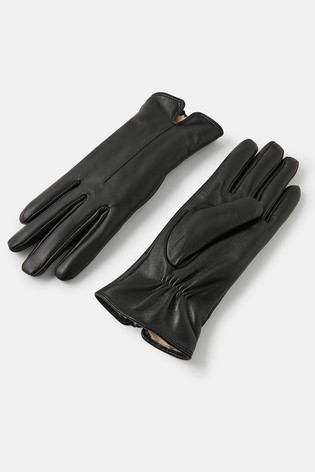 Accessorize Faux Fur Lined Leather Gloves
