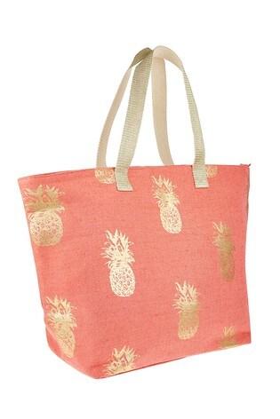 Accessorize Orange Pineapple Printed Tote