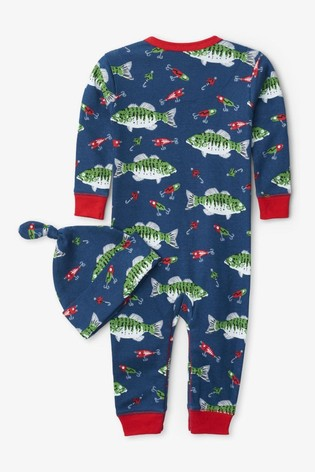 Hatley Blue Gone Fishing Baby Coverall And Hat