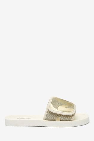 Michael Kors Gold Logo Sliders