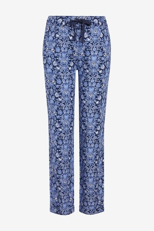 Navy Print Linen Blend Tapered Trousers