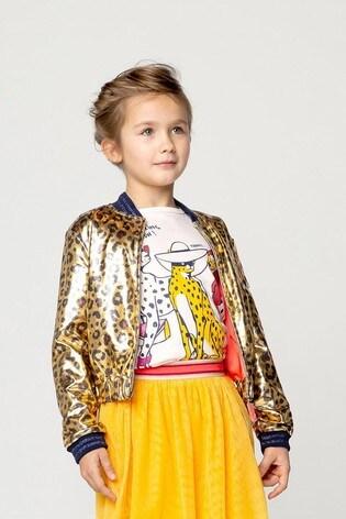 Billieblush Gold Leopard Print Bomber Jacket