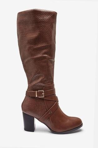 Wallis Headliner Tan Woven PU High Leg Boots